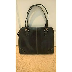 Fossil Black Leather Laptop Tote/Workbag